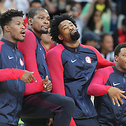 Basketball - Olympics: Day 16  USA players pose for photographs before the medal presentation, from left, Jimmy Butler #4, Kevin Durant #5, DeAndre Jordan #6 and Kyle Lowry #7 of United States during the USA Vs Serbia Men's Basketball Gold Medal game at Carioca Arena1on August 21, 2016 in Rio de Janeiro, Brazil. (Photo by Tim Clayton/Corbis via Getty Images)