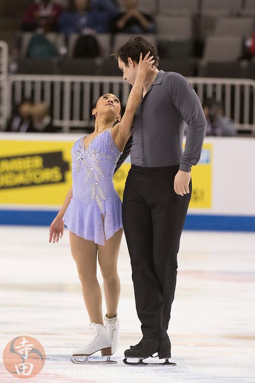 January 4, 2018; San Jose, CA, USA; Jessica Calalang and Zack Sidhu perform in the pairs short program during the 2018 U.S. Figure Skating Championships at SAP Center.