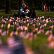 A couple sit against a tree amidst a backdrop of 20,000 American flags placed on the National Mall in remembrance of the over 200,000 American lives lost to the COVID-19 pandemic.