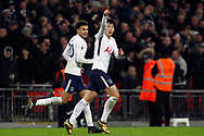 Son Heung-min of Tottenham Hotspur ® celebrates after scoring his team's first goal. Premier league match, Tottenham Hotspur v West Ham United at Wembley Stadium in London on Thursday  4th January 2018.<br /> pic by Steffan Bowen, Andrew Orchard sports photography.