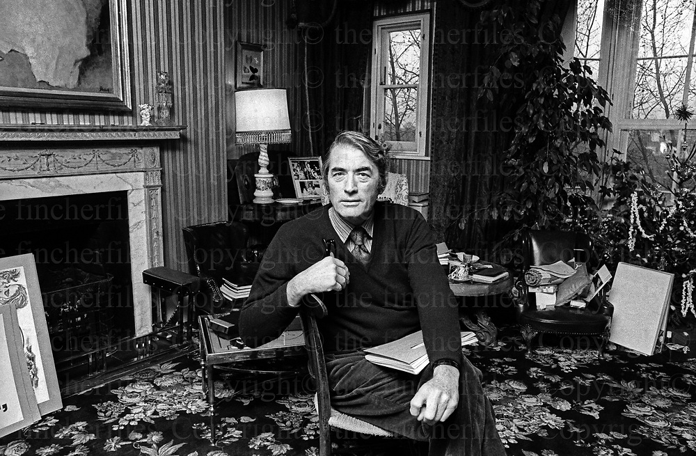 American actor Gregory Peck on a visit to London in 1973. Peck starred in Hollywood movies including 'To Kill a Mocking Bird' and 'The Omen' plus many more. Photograph by Terry Fincher