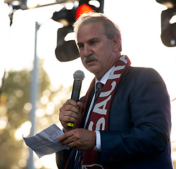 Oct 21, 2019; Sacramento, CA, USA; Ken Nagle, lead investor of the Sacramento Republic FC, greets the crowd during a fan celebration event for the new MLS soccer team at Capital Mall. Mandatory Credit: D. Ross Cameron-USA TODAY Sports