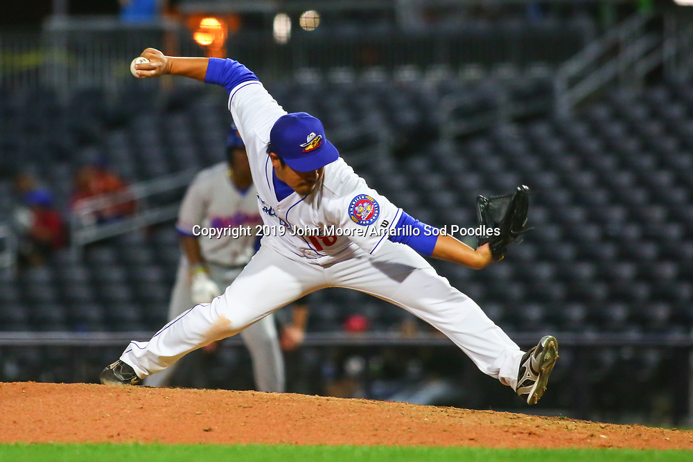 Amarillo Sod Poodles pitcher Kazuhisa Makita (18) pitches against the Midland RockHounds on Wednesday, April 10, 2019, at HODGETOWN in Amarillo, Texas. [Photo by John Moore/Amarillo Sod Poodles]