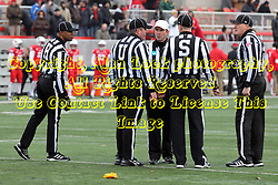 06 December 2014:  Normal Illinois.  Referee: Gregg Wilson;  Umpire: Bryan Hay; Linesman: Quentin Givens; Line judge: Kirk Mattson;  <br /> Side judge: John Love; during a 1st round FCS NCAA football game between the Panthers of Northern Iowa and the Redbirds of Illinois State in Hancock Stadium.  Illinois State won the game 41-21.