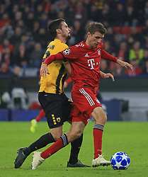 07.11.2018, Champions League, FC Bayern vs AEK Athen, Allianz Arena  Muenchen,  Fussball, Sport, im Bild:...Erik Moran ( AEK Athen ) vs Thomas Mueller (FCB)..DFL REGULATIONS PROHIBIT ANY USE OF PHOTOGRAPHS AS IMAGE SEQUENCES AND / OR QUASI VIDEO...Copyright: Philippe Ruiz..Tel: 089 745 82 22.Handy: 0177 29 39 408.e-Mail: philippe_ruiz@gmx.de. (Credit Image: © Philippe Ruiz/Xinhua via ZUMA Wire)