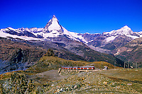 Gornergratbahn (cog railroad) in foreground and the Matterhorn behind, above Zermatt, Switzerland