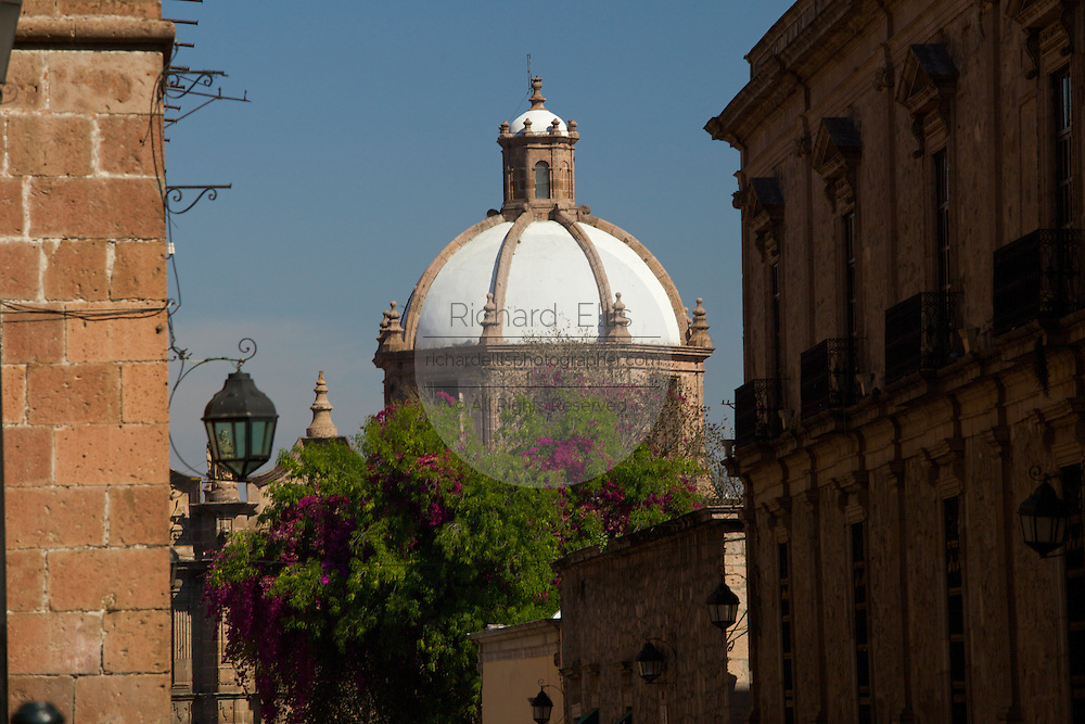 View of the Templo de las Rosas, now the Morelia Conservatory of Music in Morelia, Michoacan state Mexico. The city is a UNESCO World Heritage Site and hosts on of the best preserved collection of Spanish Colonial architecture in the world. The Baroque building dating from the mid-seventeenth century was the Temple of Santa Rosa until it became the music conservatory in the 1940's.