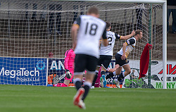 Dumbarton's Iain Russell (14) cele scoring their goal. half time : Arbroath 0 v 1 Dumbarton, Scottish Football League Division One played 20/10/2018 at Arbroath's home ground, Gayfield Park.