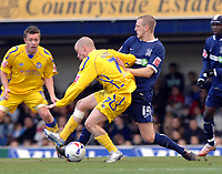 Photo: Ashley Pickering.<br />Southend United v Leicester City. Coca Cola Championship. 03/03/2007.<br />Iain Hume of Leicester (L) holds off Peter Clarke of Southend