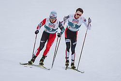 04.03.2021, Oberstdorf, GER, FIS Weltmeisterschaften Ski Nordisch, Oberstdorf 2021, Herren, Nordische Kombination, Einzelbewerb, Langlauf, im Bild v.l.: Akito Watabe (JPN), Jarl Magnus Riiber (NOR) // f.l.: Akito Watabe of Japan Jarl Magnus Riiber of Norway during the Cross Country Competition of men Nordic combined Single of FIS Nordic Ski World Championships 2021 in Oberstdorf, Germany on 2021/03/04. EXPA Pictures © 2021, PhotoCredit: EXPA/ Dominik Angerer