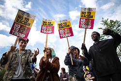 © Licensed to London News Pictures . 03/06/2019. Manchester, UK. A Manchester Together Against Trump demonstration in Cathedral Gardens , central Manchester , during the first day of US President Donald Trump's visit to the UK . Photo credit: Joel Goodman/LNP