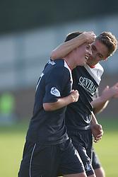 Falkirk's scorer Kris Faulds with Falkirk's Luke Leahy at the end.<br /> Raith Rovers 1 v 1 Falkirk, Scottish Championship 28/9/2013.<br /> ©Michael Schofield.