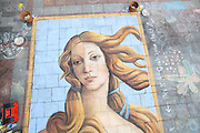 Street artist Gabrielle Abbott's chalk painting of Botticelli's Venus on the Westlake Center Plaza in Seattle, Washington.