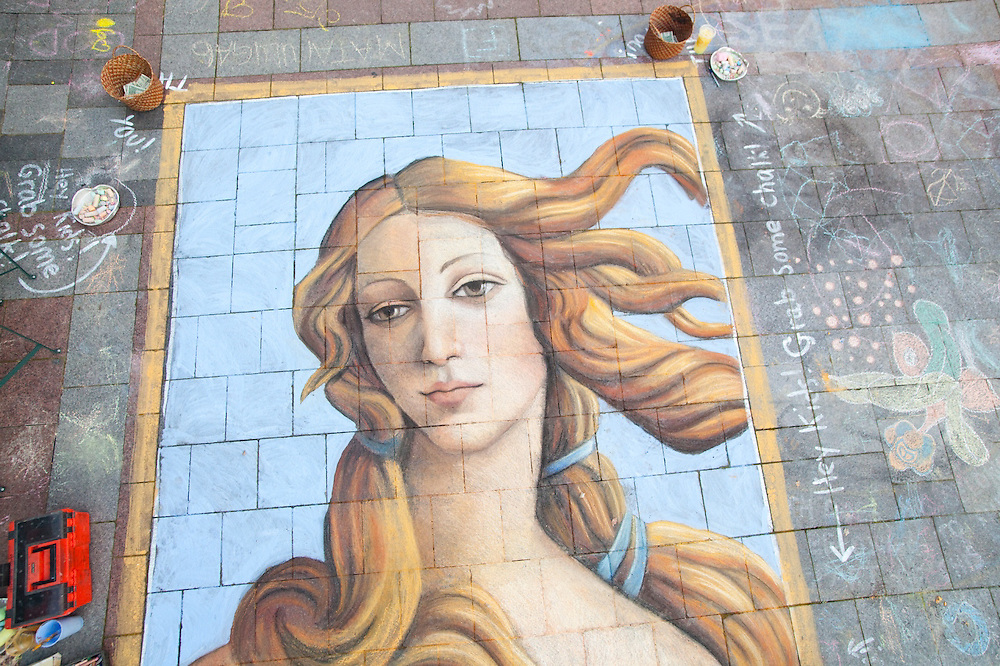 Street artist Gabrielle Abbott's chalk painting of Botticelli's Venus on the Westlake Center Plaza in Seattle, Washington.