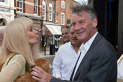© under license to London News Pictures. 25/06/12..Fellow Python Michael Palin  and Python actress Carol Cleveland outside The Angel Inn at the unveiling of a blue plaque to former Monty Python star, Graham Chapman. The memorial has been organised by Chapman's family, friends, and former colleagues, following the news that English Heritage have dropped plans for an 'official' Blue Plaque to the star, due to budget cuts. ..ALEX CHRISTOFIDES/LNP