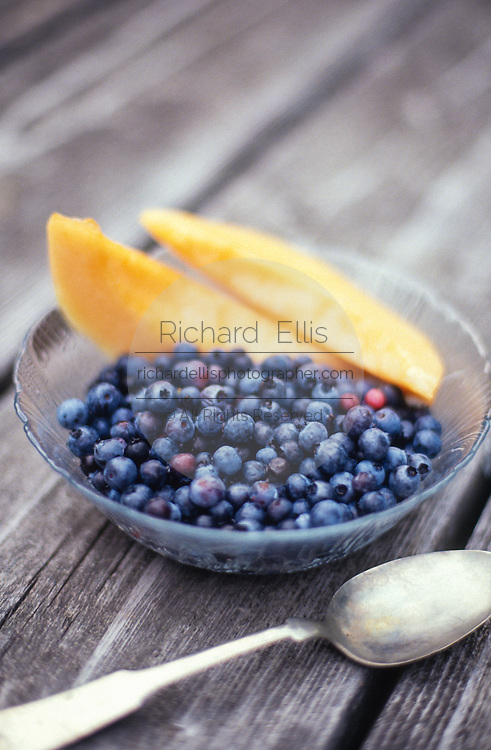 Still life blueberries and melon.