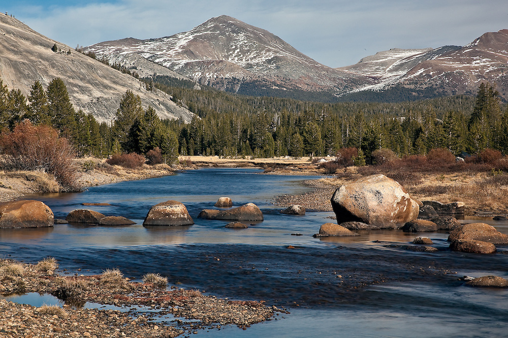 yosemite national park, tuolumne meadows river off tioga road. this is near the end of the season on the tail of fall when the road will soon close for the winter