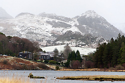© Licensed to London News Pictures. 22/01/2019. Snowdonia, Gwynedd, Wales, UK. A bleak landscape as showers of snow, sleet and haill continue in Snowdonia National Park, Gwynedd, UK. credit: Graham M. Lawrence/LNP