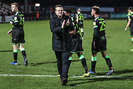 Forest Green Rovers manager, Mark Cooper applauds the fans at the end of the match during the EFL Sky Bet League 2 match between Stevenage and Forest Green Rovers at the Lamex Stadium, Stevenage, England on 26 January 2019.