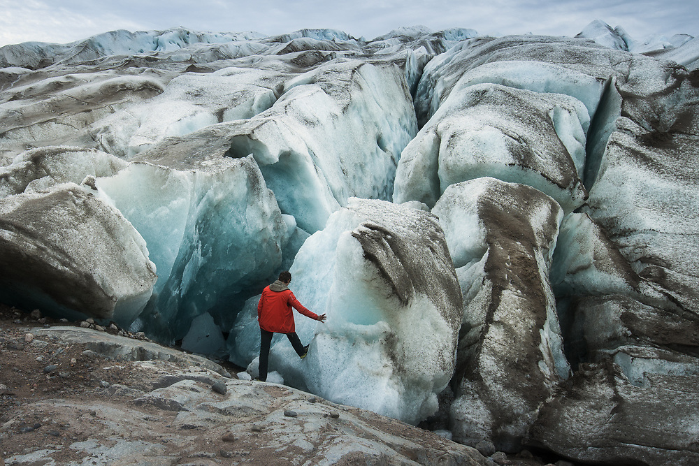 With caution, walking the glacier is faster and easier than pushing through loose moraine rocks. For me, this kind of experience was for the first time. Seen waterfalls going down and disappearing in the glacier was one of the main highlights of this trip in South Greenland