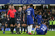 Sheffield Wednesday midfielder Barry Bannan (10) shouts at Chelsea Defender Cesar Azpilicueta after Referee Andre Marriner gave penalty to Chelsea during the The FA Cup fourth round match between Chelsea and Sheffield Wednesday at Stamford Bridge, London, England on 27 January 2019.