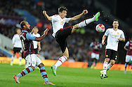 Matteo Darmian of Manchester Utd © in action. Barclays Premier League match, Aston Villa v Manchester Utd at Villa Park in Birmingham, Midlands on Friday 14th August  2015.<br /> pic by Andrew Orchard, Andrew Orchard sports photography.