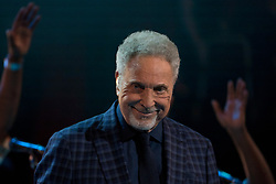 Sir Tom Jones performing at the Royal Albert Hall in London during a star-studded concert to celebrate the Queen's 92nd birthday.