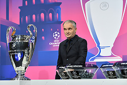NYON, SWITZERLAND - Monday, December 14, 2020: Special guest Stéphane Chapuisat draws out a ball during the UEFA Champions League 2020/21 Round of 16 draw at the UEFA Headquarters, the House of European Football. (Photo Handout/UEFA)