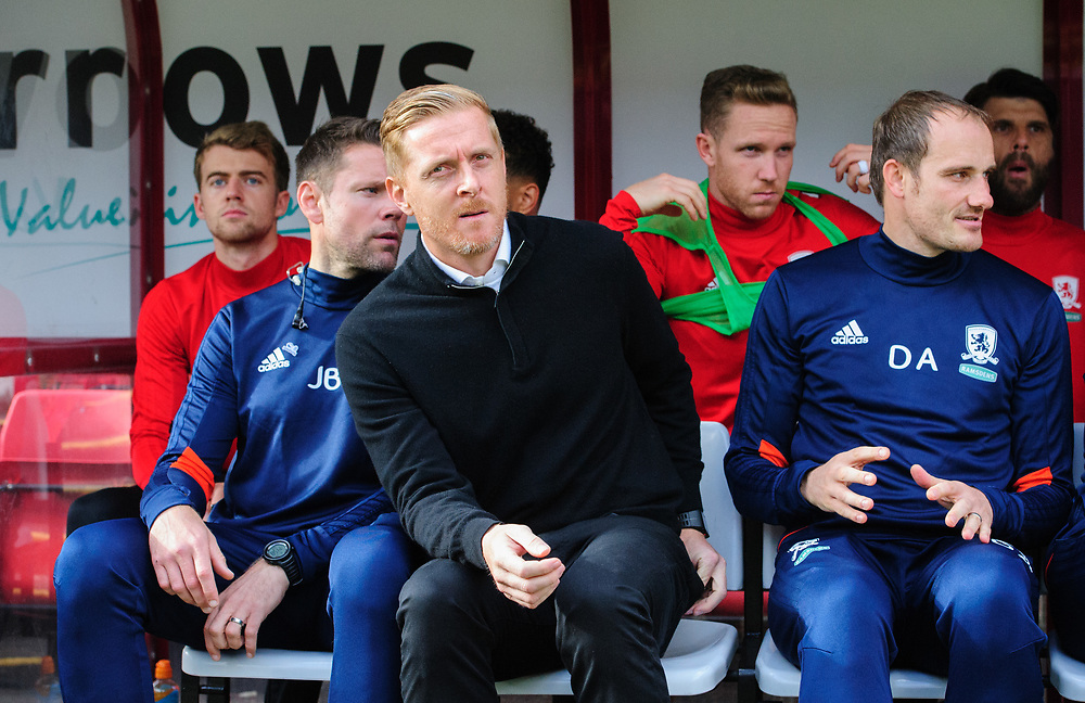 Middlesbrough's first team coach James Beattie, left, Middlesbrough manager Garry Monk, centre, and Middlesbrough's first team coach David Adams sat in the dug-out before kick ogg<br /> <br /> Photographer Chris Vaughan/CameraSport<br /> <br /> The EFL Sky Bet Championship - Barnsley v Middlesbrough - Saturday 14th October 2017 - Oakwell - Barnsley<br /> <br /> World Copyright © 2017 CameraSport. All rights reserved. 43 Linden Ave. Countesthorpe. Leicester. England. LE8 5PG - Tel: +44 (0) 116 277 4147 - admin@camerasport.com - www.camerasport.com