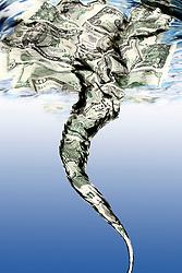 Money Draining down a water whirlpool or vortex