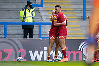 Rugby League - 2020 Super League - Round 13 - Warrington Wolves vs Catalan Dragon<br /> <br /> Catalans Dragons's Tom Davis celebrates scoring his sides first try,   at the Halliwell Jones Stadium, Warrington<br /> <br /> <br /> COLORSPORT/TERRY DONNELLY