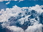 Andes Mountains as viewed from the window of an airplane