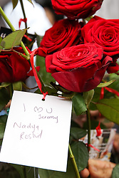 © Licensed to London News Pictures. 03/03/2019. London, UK. Flowers for Jeremy Corbyn as he arrives at Finsbury Park Mosque, north London. Over 250 mosques open their doors to non-Muslim guests and visitors on the fourth Visit My Mosque Day. This year the national event also encourages mosques to support Keep Britain Tidy's Great British Spring Clean campaign with many already taking part in cleaning their communities. Photo credit: Dinendra Haria/LNP