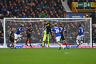 John Stones of Manchester City heads and clears the danger. Premier league match, Everton v Manchester City at Goodison Park in Liverpool, Merseyside on Sunday 15th January 2017.<br /> pic by Chris Stading, Andrew Orchard sports photography.