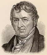 Eli Whitney (1765-1825) American inventor and manufacturer, born at Westborough, Massachusetts.  Credited with the invention of the cotton gin (1793) to separate cotton fibre from seeds and seedpods, dramatically increasing the amount of cotton that could be processed in a day and so revolutionising the American cotton growing industry.  Equally important was his introduction of interchangeable parts, an innovation which led to the growth of mass production in the nineteenth century and the production of cheap goods. Engraving.