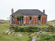 An abandoned house on the island of Scalpay on the Isle of Harris, Outer Hebrides, Scotland on 20 July 2018