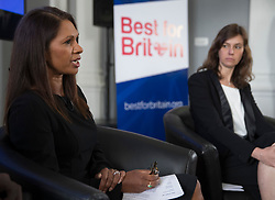 "© Licensed to London News Pictures. 26/04/2017. London, UK. Gina Miller (L) is watched by campaign director Eloise Todd during the Launch of the Best for Britain initiative. Mrs Miller's campaign aims to endorse various candidates in the general election who support it's proposal for a ""meaningful"" vote by MPs at the end of the UK's EU Brexit negotiations. Photo credit: Peter Macdiarmid/LNP"