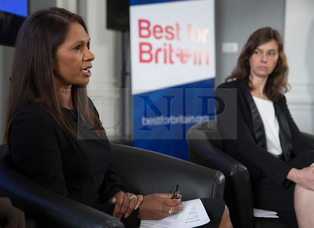 """© Licensed to London News Pictures. 26/04/2017. London, UK. Gina Miller (L) is watched by campaign director Eloise Todd during the Launch of the Best for Britain initiative. Mrs Miller's campaign aims to endorse various candidates in the general election who support it's proposal for a """"meaningful"""" vote by MPs at the end of the UK's EU Brexit negotiations. Photo credit: Peter Macdiarmid/LNP"""