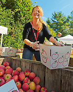 Mill Neck, New York, U.S. 12th October 2013. The annual Fall Harvest Festival, also known as Apple Fest, attracts tens of thousands of visitors with its apples, cheeses, baked goods, fudge, Pumpkin Patch, children's rides, and more, on the grounds of Mill Neck Manor, an historic Gold Coast estate, during Columbus Day weekend. Proceeds benefit the Mill Neck Family of organizations including the Mill Neck Manor School for the Deaf.