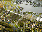 Nederland, Noord-Holland, Gemeente Langedijk, 16-04-2012; Landschapsreservaat Oosterdel. Dit gebied vormt een restant van het 'duizend eilandenrijk', voormalige veengronden ontstaan door ontwatering en afgraven van veen en in gebruik voor tuinbouw. Onderdeel van de Provinciale Ecologische Hoofdstructuur (EHS). De eilanden in de voorgrond hoorden ook bij het tuinbouwgebied maar zijn nu bebouwd..Landscape reserve Oosterdel (NW Netherlands) . This area is a remnant of thousand islands , former peatlands caused by drainage and excavation of peat and is used horticulturally. Part of the Provincial  Ecological Structure  (EHS)..luchtfoto (toeslag), aerial photo (additional fee required);.copyright foto/photo Siebe Swart