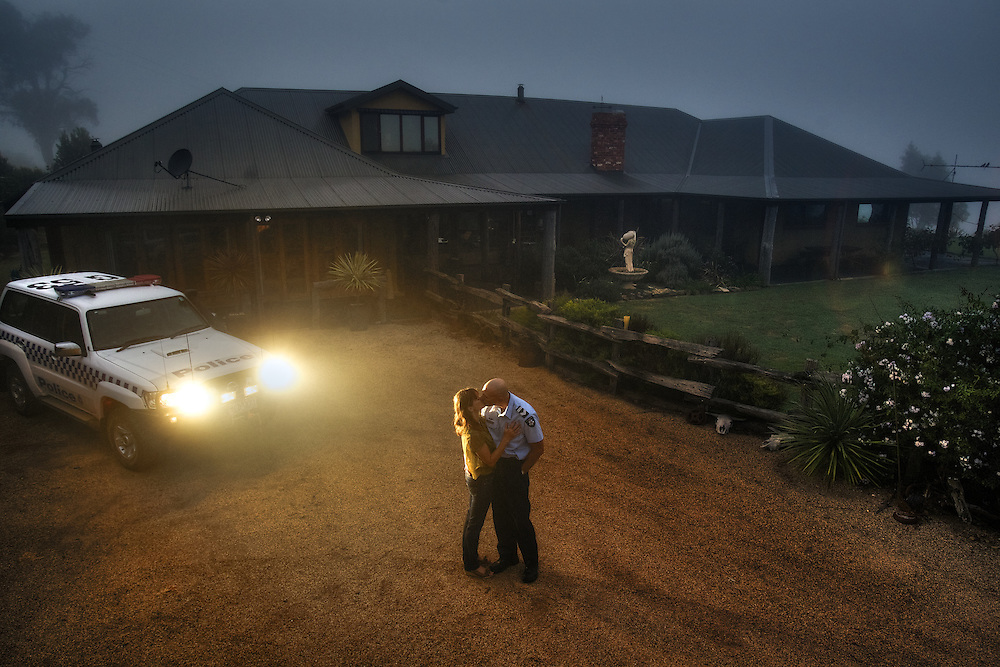 Mitta Mitta, one policeman town. Following the working life of Leading Senior Constable John Kissane. Kissing wife Paula goodbye before heading off early in the morning. Pic By Craig Sillitoe CSZ/The Sunday Age.27/03/2012 This photograph can be used for non commercial uses with attribution. Credit: Craig Sillitoe Photography / http://www.csillitoe.com<br /> <br /> It is protected under the Creative Commons Attribution-NonCommercial-ShareAlike 4.0 International License. To view a copy of this license, visit http://creativecommons.org/licenses/by-nc-sa/4.0/.