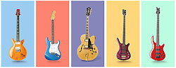 Fender Mexican Stratocaster electric guitar,Dean five string electric guitar,Paul ,Reed Smith SE Santana Electric Guitar,Guild Jazz box electric guitar,Dean Warwick corvette electric guitar, VA1_344_037