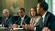 President Barack Obama participates in a bipartisan Congressional Leadership meeting in the Cabinet Room of the White House on April 14, 2010.  (left to right:  Rep. Steny Hoyer, D MD, Rep. John A. Boehner,R OH  Speaker of the House Nancy Pelosi, D CA, President Obama  Photograph by Dennis Brack