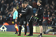 Leeds United manager Paul Heckingbottom gives instructions to Leeds United midfielder Pablo Hernandez (19) during the EFL Sky Bet Championship match between Aston Villa and Leeds United at Villa Park, Birmingham, England on 13 April 2018. Picture by Alan Franklin.