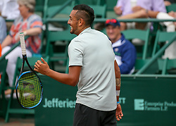 April 13, 2018 - Houston, TX, U.S. - HOUSTON, TX - APRIL 13:  Nick Kyrgios of Australia reacts after winning a point during the Quarterfinal round of the Men's Clay Court Championship on April 13, 2018 at River Oaks Country Club in Houston, Texas.  (Photo by Leslie Plaza Johnson/Icon Sportswire) (Credit Image: © Leslie Plaza Johnson/Icon SMI via ZUMA Press)