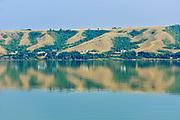 Hills reflected in Echo Lake<br />Echo Valley Provincial Park<br />Saskatchewan<br />Canada