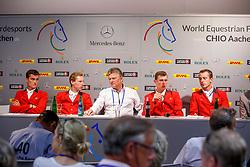 Team Belgium  <br /> Kurt Gravemeier, Olivier Philippaerts, Pieter Devos, Jos Verlooy, Gregory Wathelet<br /> Winners of the Mercedes-benz Nationenpreis<br /> Weltfest des Pferdesports CHIO Aachen 2014<br /> © Hippo Foto - Dirk Caremans