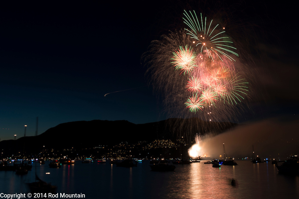 Fireworks as captured during the France demonstration at the Celebration of Light in Vancouver. The annual fireworks competition attracts up to 400,000 spectators each night and is the world's largest offshore event. © 2014 Rod Mountain
