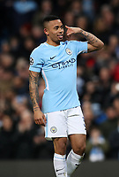 Football - 2017 / 2018 UEFA Champions League - Round of Sixteen, Second Leg: Manchester City (4) vs. FC Basel (0)<br /> <br /> Gabriel Jesus of Manchester City celebrates  at The Etihad.<br /> <br /> COLORSPORT