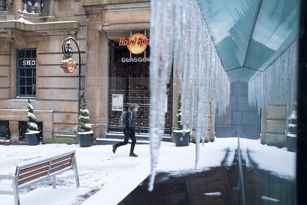 "© Licensed to London News Pictures. 28/02/2018. <br /> <br /> Icicles form outside Buchanan Street Subway Station as Glasgow, Scotland is hit with snow storm ""Beast from the East"" on 28th February 2018.<br /> <br /> Photo credit should read Max Bryan/LNP"